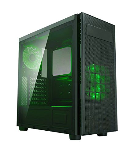 Apevia X-HARMONY-GN Mid Tower with Full-Size Acrylic Side Window, Top USB3.0/USB2.0/Audio Ports - Green Side Acrylic Window