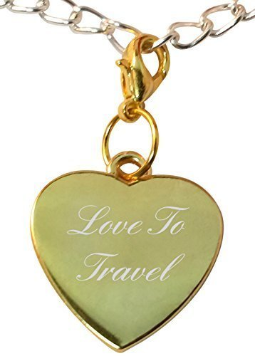 Luxury Engraved s UK Men's Clip On Love To Travel Heart Bracelet Charm, Compatible With Thomas Sabo Gold
