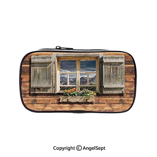 Cute Pencil Case - High Capacity,Weathered Facade of A Mountain Hut with Summer Mountain Reflections on Window Brown Green 5.1inches,Multifunction Cosmetic Makeup Bag,Perfect Holder for Pencils and P -