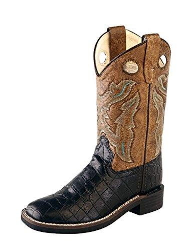 Old West Cowboy Boots Boys Girl Kid TPR 8.5 Infant Black Crackle VB9112 - Old West Cowboy Clothing