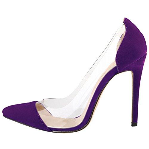 fereshte Ladies Womes Transparent Stiletto Heel Dress Court Shoes Dark Purple