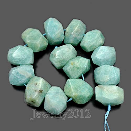 "Faceted Beads Russian - FidgetGear Natural Faceted Gemstones Rondelle Nugget Freeform Beads 8"" 10x15mm-13x19mm Russian Amazonite"