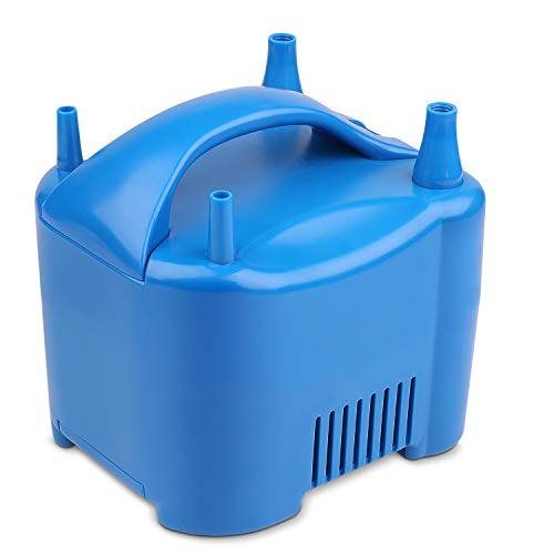Flexzion Electric Air Balloon Pump - Portable Dual Nozzle Inflator Blower with Built-in Motor Advanced Wire Storage for Kids Children Birthday Party Wedding Sports Holiday Festival Decoration (Blue) (Rental Equipment Party)