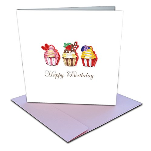 "Cupcake Trio ""Happy Birthday"" Quilling Greeting Card, 6x6"" with Envelope. Hand-made. Suitable for Framing."