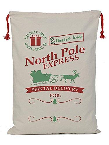 Personalizedサンタ袋27.5 X 19.6 inches Largeコットンドローストリングクリスマスバッグギフト袋 B073XL1C9T E E