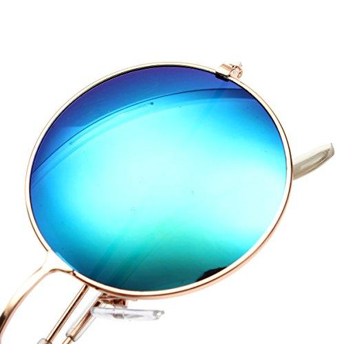 de Lunettes Soleil OUTERDO Cadre PC Cadre R¨¦tro Lentille UV400 M¨¦tallique Lunettes et Bleu Clair de M¨¦tallique 5EtqBwEX
