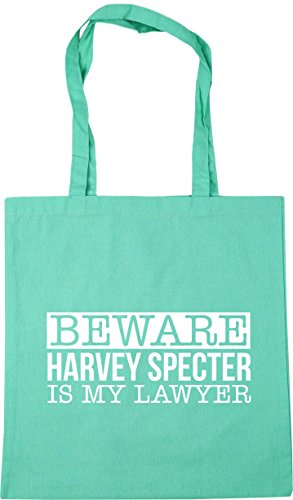 HippoWarehouse Beware harvey specter is my lawyer Tote Shopping Gym Beach Bag 42cm x38cm, 10 litres Mint