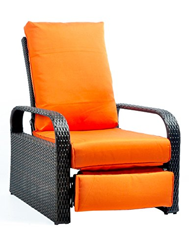 "Outdoor Recliner Wicker Adjustable Chair, Rust-Resistant Aluminum Frame, with 5.11"" Cushions (Brown& Orange) For Sale"
