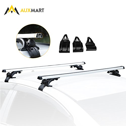 "AUXMART Universal Roof Rack Crossbars Width Less than 48"" Adjustable for Most Vehicle Wagon Car without Roof Side Rail (Pack of 2) 150LBS/68KG Capacity"