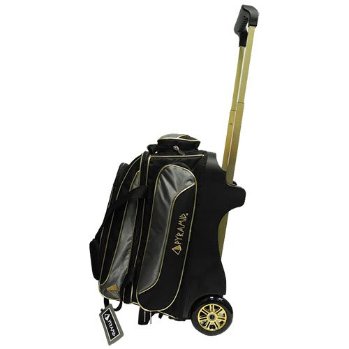 Pyramid Path Premium Deluxe Double Roller Bowling Bag (Black/Gold/Grey)
