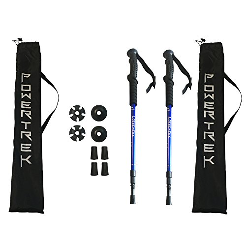 Trekking-Hiking-Walking-Collapsible-Trail-Poles-Ergonomic-EVA-Hand-Grip-with-2-Rubber-Tips-Mud-Catcher-Snow-Baskets-Carry-Bag-Backpacking-Climbing-Gear-Free-Rubber-Tips-Set-and-Extra-Carry-Bag