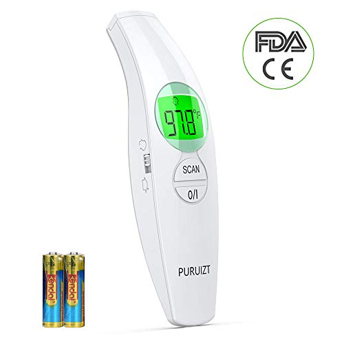 PURUIZT Non-Contact Forehead Infrared Thermometer No Touch Digital Fever Thermometer for Adults Kids Baby Body Surface Temperature Measurement,Accurate Instant Reading with LCD Display and Fever Alarm
