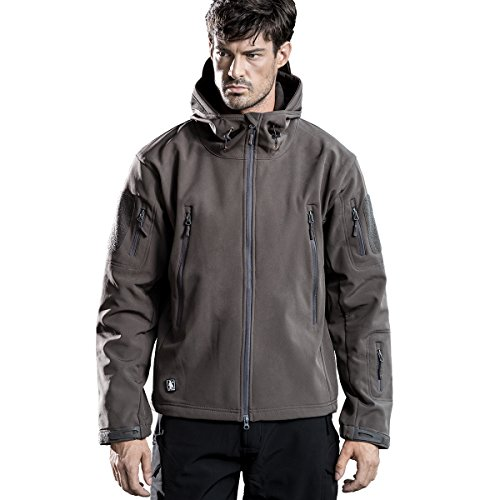 FREE SOLDIER Men's Tactical Jacket Waterproof Army Military Hooded Jacket Softshell Autumn Winter Jacket (Gray, Large) (Jacket Shell Winter Soft)
