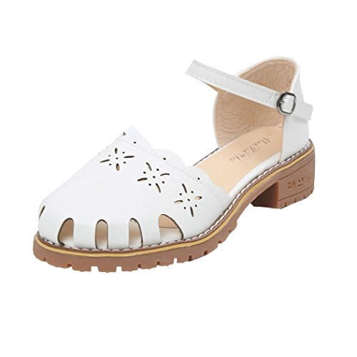 Jamicy Women Ladies Fashion Pointed Toe Thin Leather Casual Sandals White