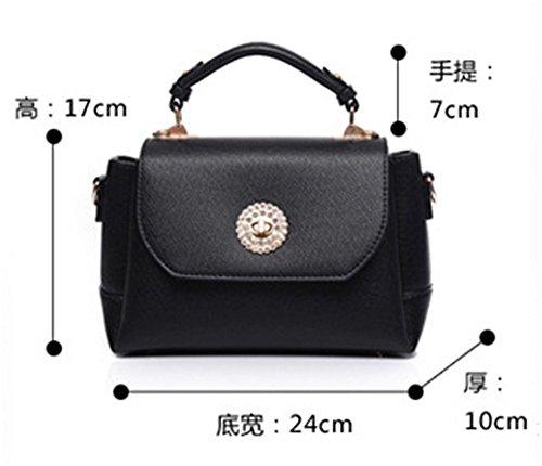 Bolsos de señora Xinmaoyuan Primavera Color puro Cross-Grain lado pequeño paquete de cuero pu Bolso Simple,negro Rojo