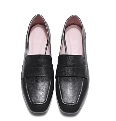morbido Black genuino Toe Closed mocassini 35To41 Scarpe Pelle piatta da Ballerina donna Formato fqnxHFE