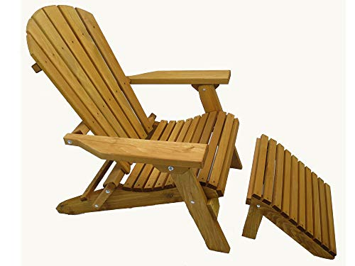 Kilmer Creek Folding Cedar Adirondack Chair W/ottoman Footstool & Stained Finish, Amish Crafted ()