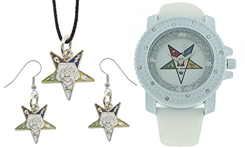 Eastern Star Symbol (3 Piece Jewelry Set - Order of the Eastern Star Pendant, Hook earrings & Order of the Eastern Star Watch. White Silicone Band White CZ Bling Face Dial)