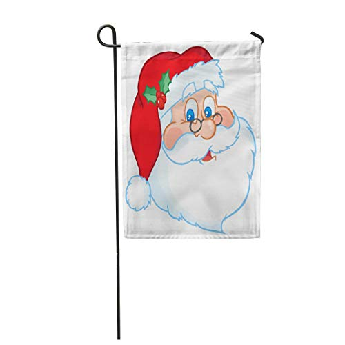 "Tarolo Decoration Flag Red Face Classic Santa Claus Head Funny Clipart Holiday Images Christmas Thick Fabric Double Sided Home Garden Flag 12"" W x 18"" H"