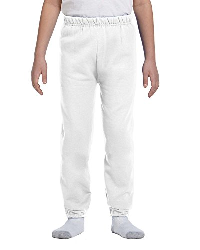 Jerzees Youth 8 Oz, 50/50 NuBlend Sweatpants, Small, White