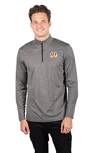(ICER Brands Men's Quarter Zip Pullover Shirt Athletic Quick Dry Tee, Gray, Heather Charcoal 18, Small)