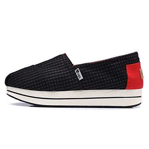 Tiosebon Toile Toile Slip-on Toning Chaussure Marche Sneaker 6616 Noir