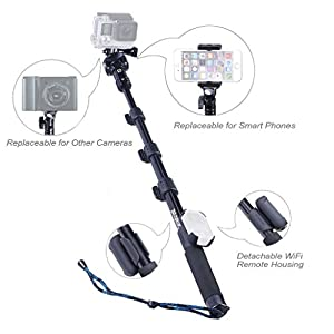 Smatree Y2 Telescoping Pole with Tripod Stand for GoPro Hero 6/5/4/3+/3/2/1/Session(WiFi Remote Controller is NOT Included) action cameras,for iPhone Series and Other cellphones