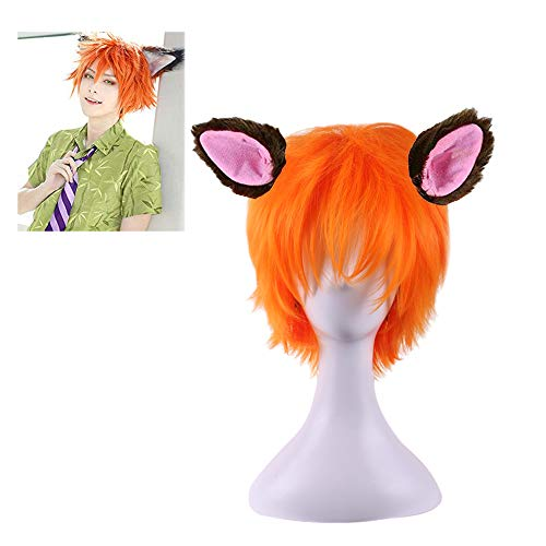 (BERON New Arrival Cool Boy Men's Original Design Cosplay Costume Party Short Layered Wig With Wig Cap (Orange Brown/Ears Not Include))