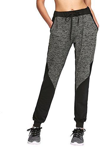 aedb42e3670 SweatyRocks Women Pants Color block Casual Tie Waist Yoga Jogger Pants Black  Grey #3 L