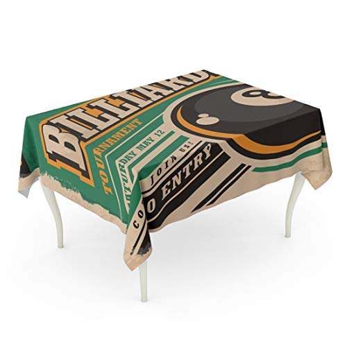 Tarolo Rectangle Tablecloth 60 x 102 Inch Snooker Retro for Billiards Tournament Vintage Eight Ball Game Sport and Leisure on Old Pool Eightball Table Cloth