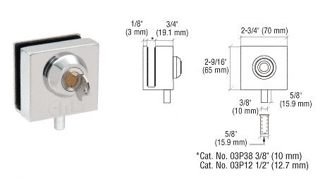 C.R. LAURENCE 03P12 CRL Polished Stainless Deluxe Slip-On Lock for 1/2'' Glass