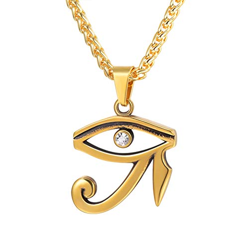 (U7 Ancient Egyptian Amulet Jewelry CZ Eyes Protection Pendant Vintage 18K Gold Plated Eye of Horus Necklace )