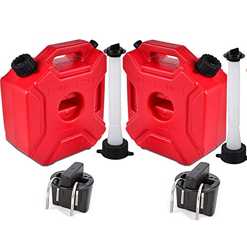 ORANDESIGNE Motorcycle Gas Can, Set of 2 ATV Gas Container Plastic Storage Tank with Pack Mount & Replacement Pour Spouts Emergency Backup Fuel for SUV UTV Dirt Bike Car BoatVehicle, Red 3L(2Pack)