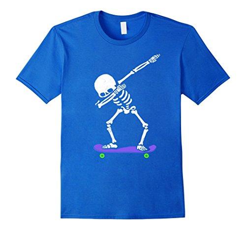 [Mens Halloween Dabbing Skeleton SKATEBOARD T-Shirt Dab Skater Tee 3XL Royal Blue] (Skateboarder Costume)