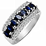 2.15ct Genuine Natural Sapphire Gemstone and Diamond 10k White Gold Ring(Size 5 to 10 in stock) image