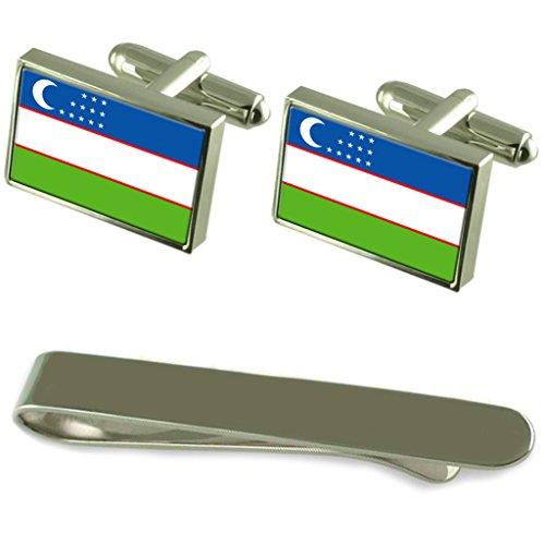 Drapeau de l'Ouzbékistan de manchette d'argent un Ensemble cadeau Cravate