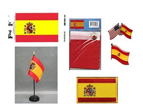 Spain Heritage Flag Pack - Includes a Spanish 3x5' Flag, Vinyl Flag Decal, One Single & One Double Friendship Flag Lapel Pin, Miniature Desk Flag With Stand & One Iron-On Flag Patch by World Flags Direct