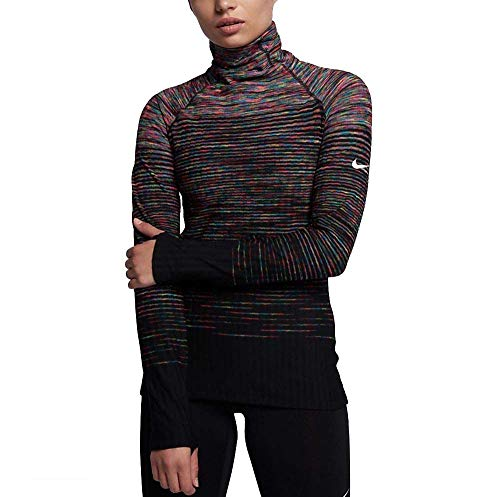 (NIKE Womens Space Dye Fleece-Lined Pullover Top -Black\Pink\Multicolor (Small))