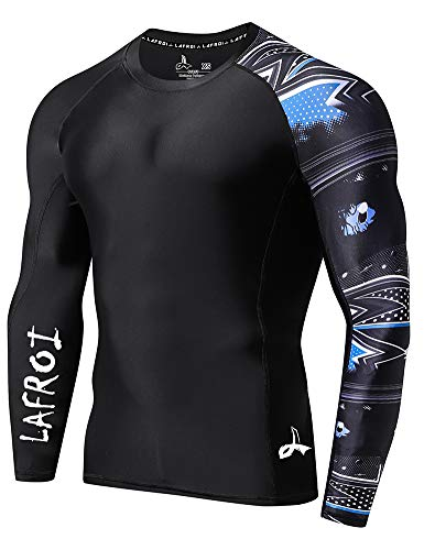 LAFROI Herren Langarm LSF 50+ Baselayer Skins Performance Fit Compression Rash Guard-CLYYB