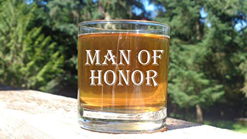 Man of Honor Whiskey Glass Male Bridesman Glasses Bourbon, Rocks Glass Gift for Brides Man Wedding Party Glasses Engraved