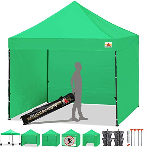 ABCCANOPY 23+ Colors 10-feet by 10-feet Festival Steel Instant Canopy, Commercial Level, with Wheeled Storage Bag, 6 Removable Zipper End Walls, Bonus 4X Weight Bag (Kelly Green)