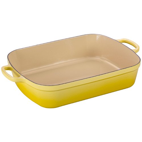 Le Creuset Signature Cast Iron Rectangular Roaster, 7.0-Quart, Soleil