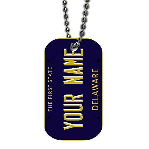 - BleuReign(TM) Personalized Custom Name Delaware State License Plate Single Sided Metal Military ID Dog Tag with Beaded Chain