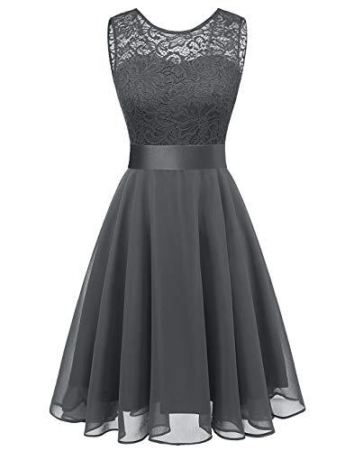 (BeryLove Women's Short Floral Lace Bridesmaid Dress A-line Swing Party DressBLP7005GreyXL)