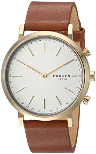 Skagen Women's Hybrid Smartwatch - Hald Brown Leather SKT1206 (Links Skagen Ladies Classic)
