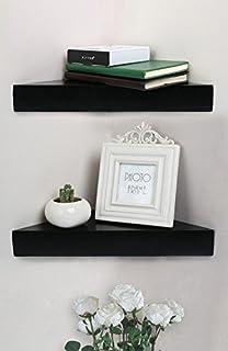 SHELVING SOLUTION Corner Wall Shelf Set Of 2 Modern Black