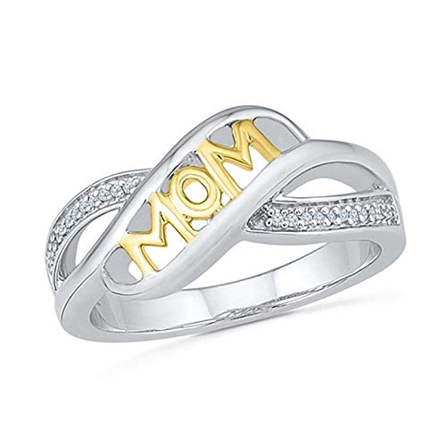 Iumer Mum Heart Shape Rhinestone Color Separation Ring Mother's Day Ring,8# ()