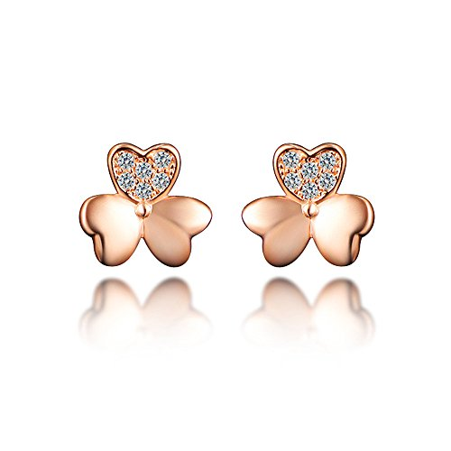 Price comparison product image Clovers Lucky Three Leaves Love Heart Stud Earrings For Girls Rose Gold Party Earrings