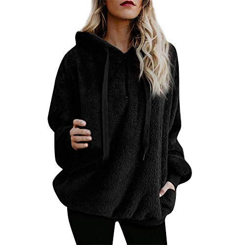 Lelili Women Fall Winter Warm Wool Coat Plus Size Fashion Long Sleeve 1/4 Zip Up Hooded Outwear Parkas with Pockets (M, Black) -