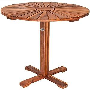 Deuba Table de Jardin appoint Balcon terrasse Bar Bois d'acacia huilé Ø 70,5cm Brun